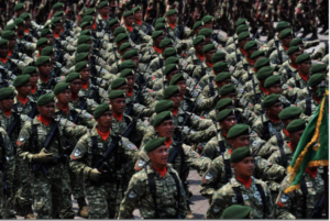 Indonesian troops march in a parade at a naval base in Cilegon, West Java, October 3, 2015, as a part of the military's 70th-anniversary celebration. Photo: AFP